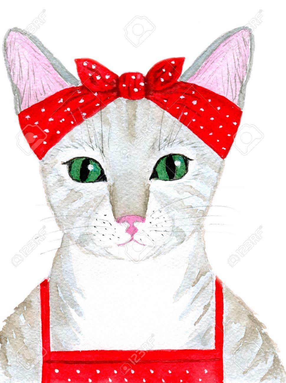 Portrait de la fille de chat hôtesse mignon habillé d\u0027un tablier et un  foulard. Carte de voeux ou d\u0027invitation pour la fête d\u0027anniversaire ou  toute