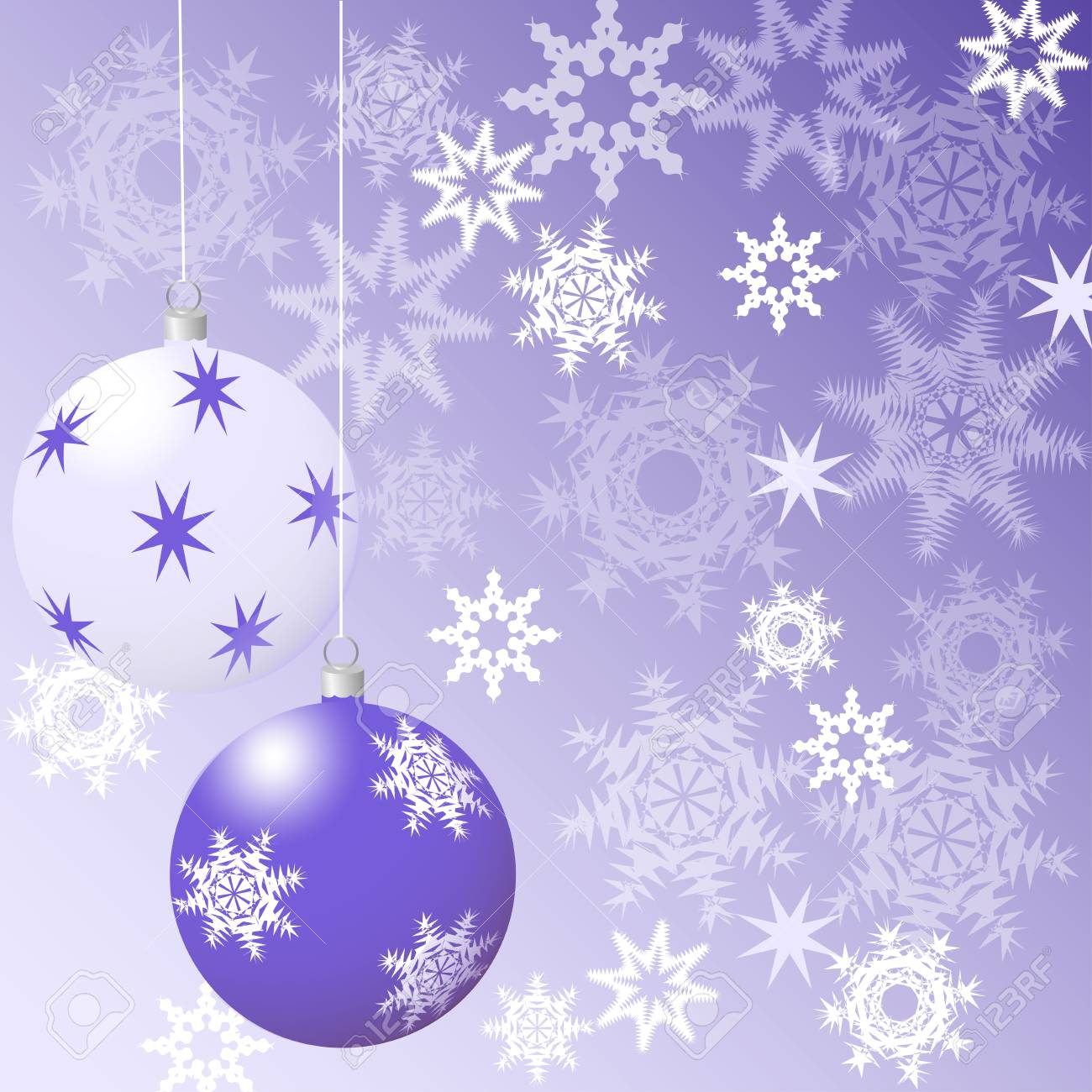 Purple Christmas Tree.Christmas Card Purple Christmas Tree Balls On A Purple Background