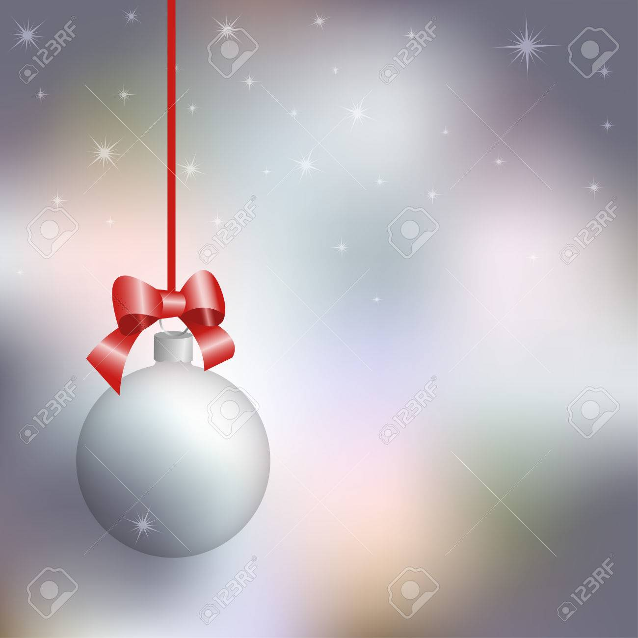 New Year card, transparent Christmas ball against the background of the winter sky, vector illustration - 49995311