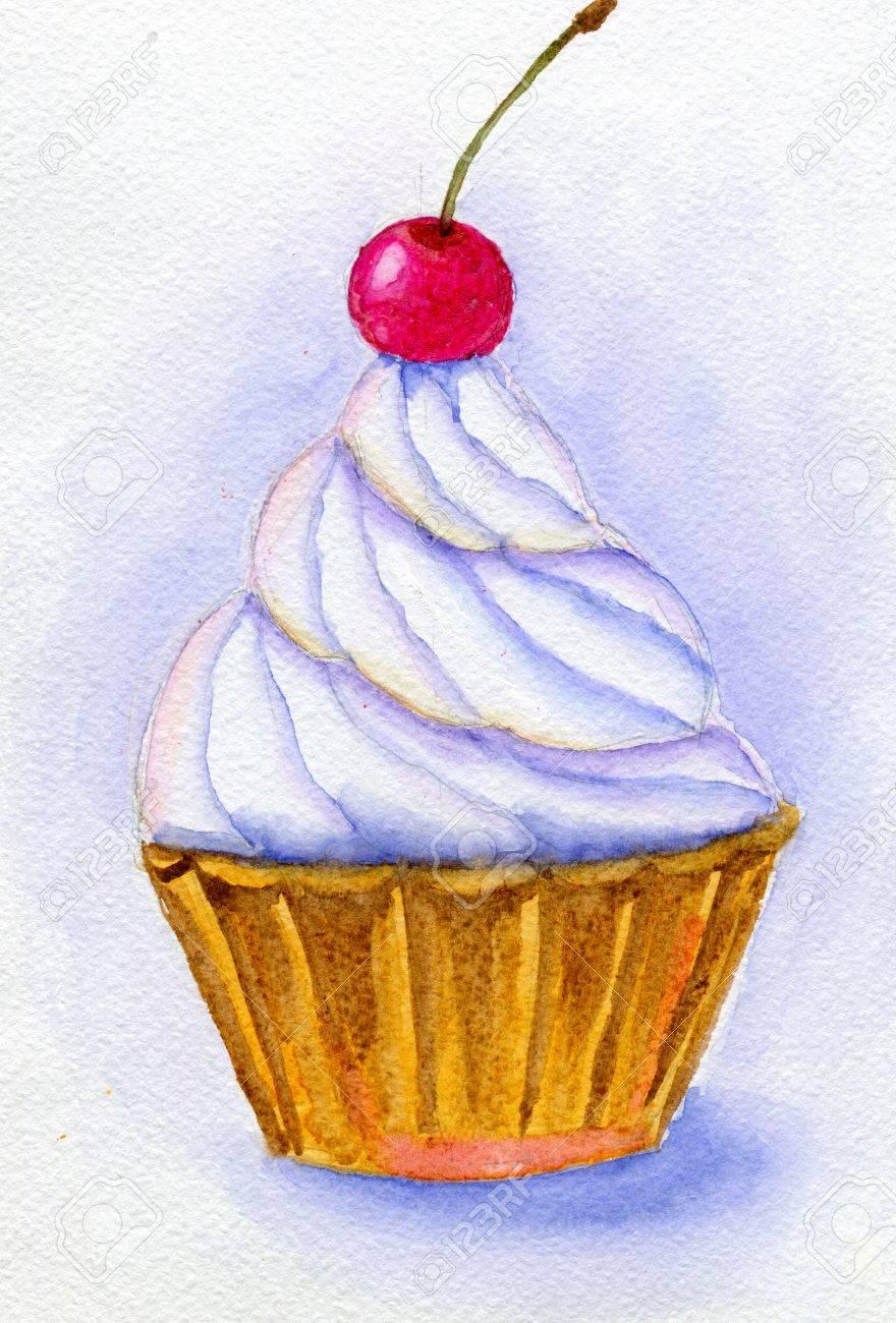 ホイップ クリームとチェリー ケーキ手描き水彩イラストと紙テクスチャ