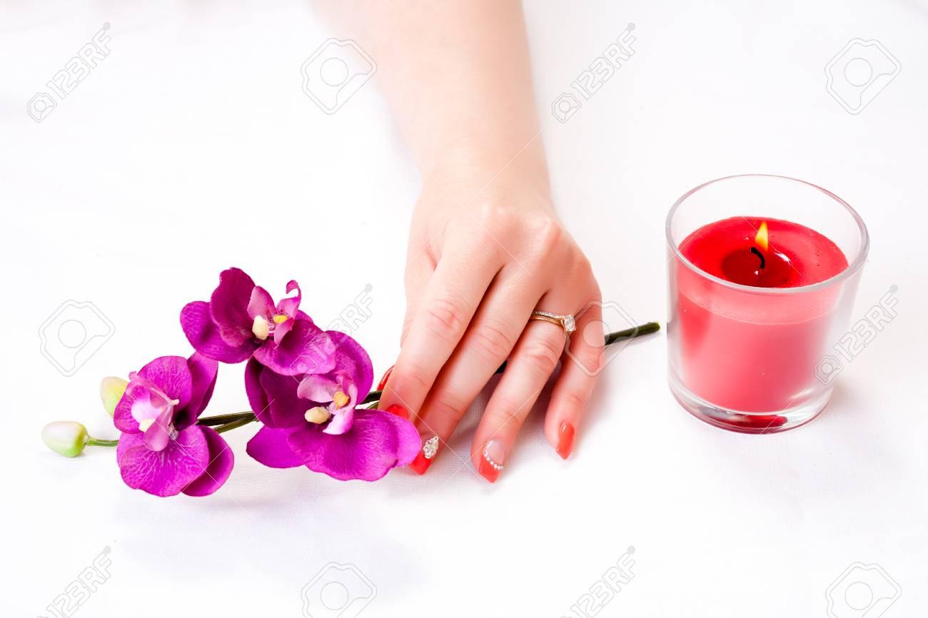 Manikure Mit Dem Dekor Orchidee Und Roter Kerze Getrennt Auf Weissem Hintergrund Spa Lizenzfreie Fotos Bilder Und Stock Fotografie Image 82574108