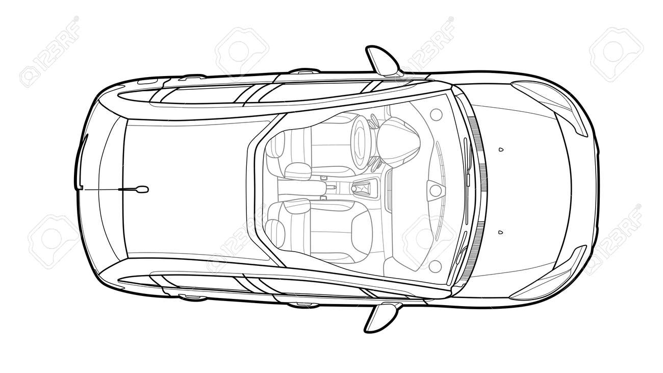 White Car From Top View Vector Illustration Flat Design Auto