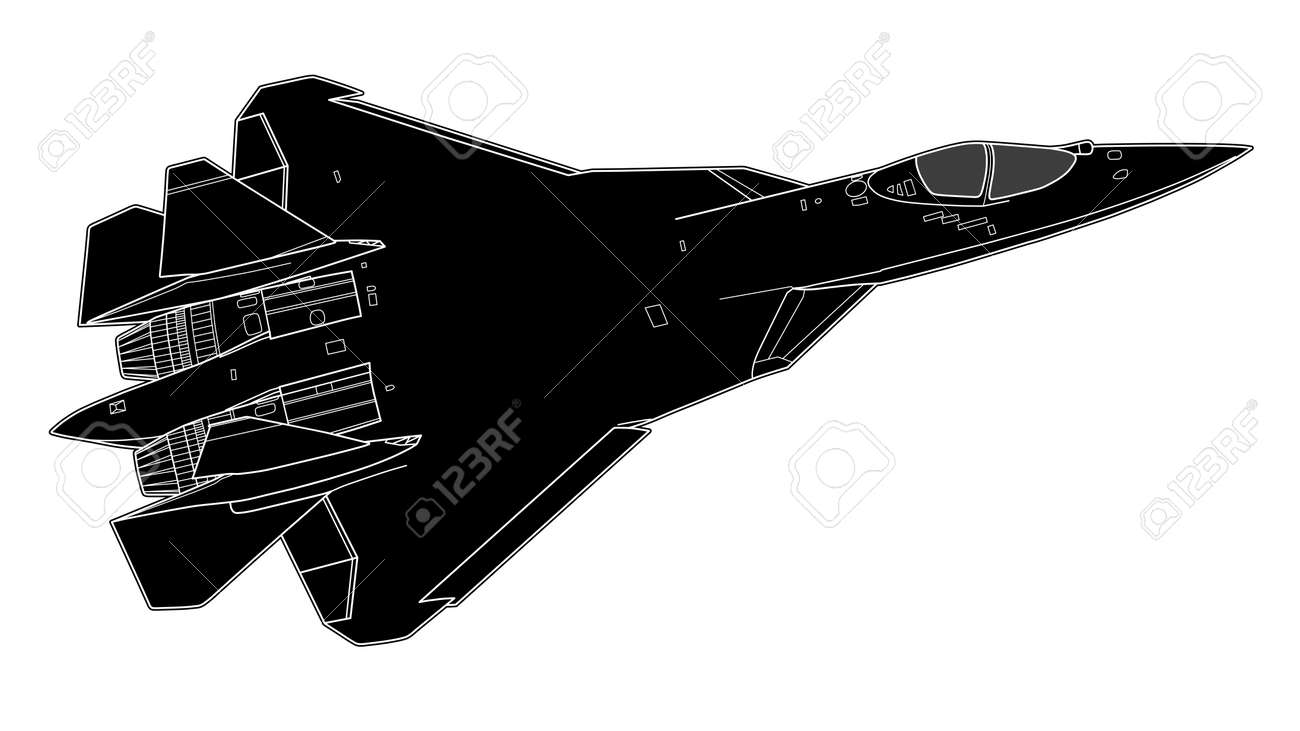 Vector draw of modern Russian jet fighter
