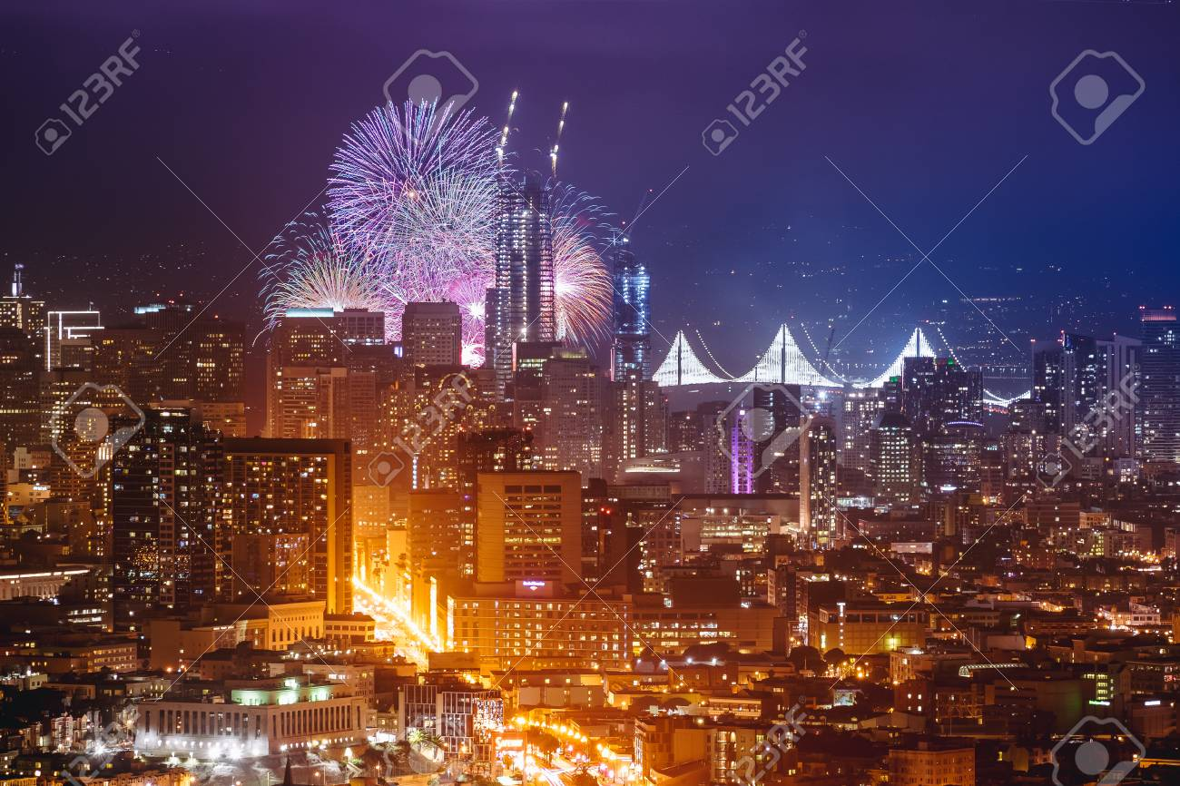 happy new year firework at san francisco ca usa 2017 stock photo 102769124
