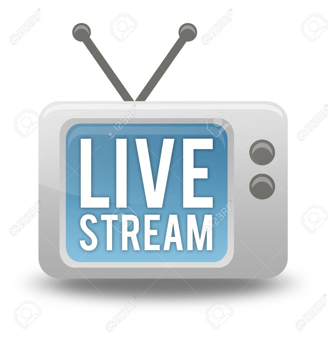cartoon style tv icon with live stream wording stock photo picture