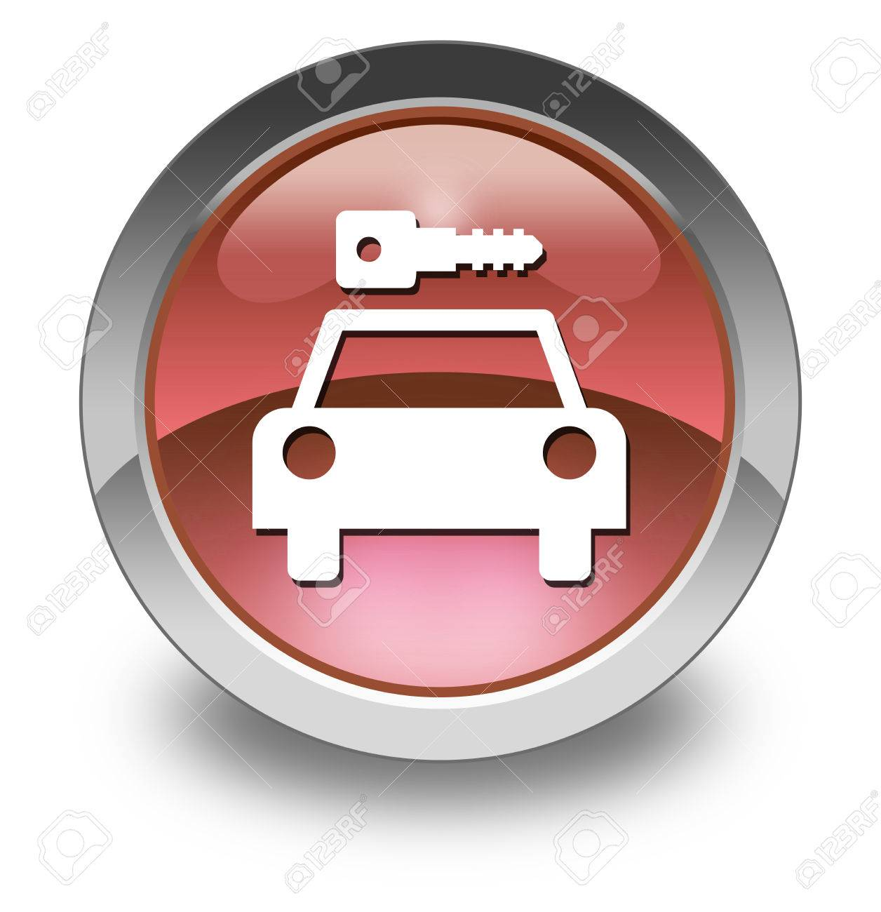 Icon, Button, Pictogram with Car Rental symbol Stock Photo - 27201057
