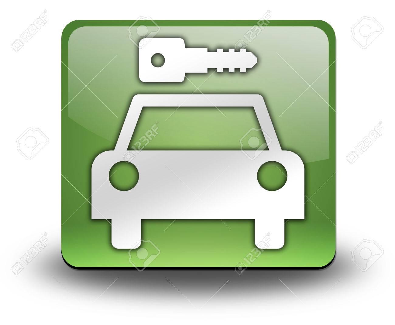 Icon, Button, Pictogram with Car Rental symbol Stock Photo - 27201102