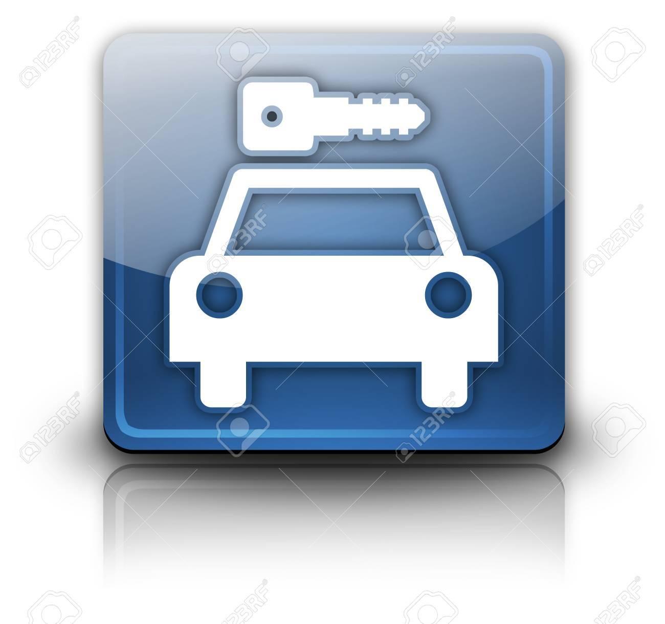 Icon, Button, Pictogram with Car Rental symbol Stock Photo - 27196183