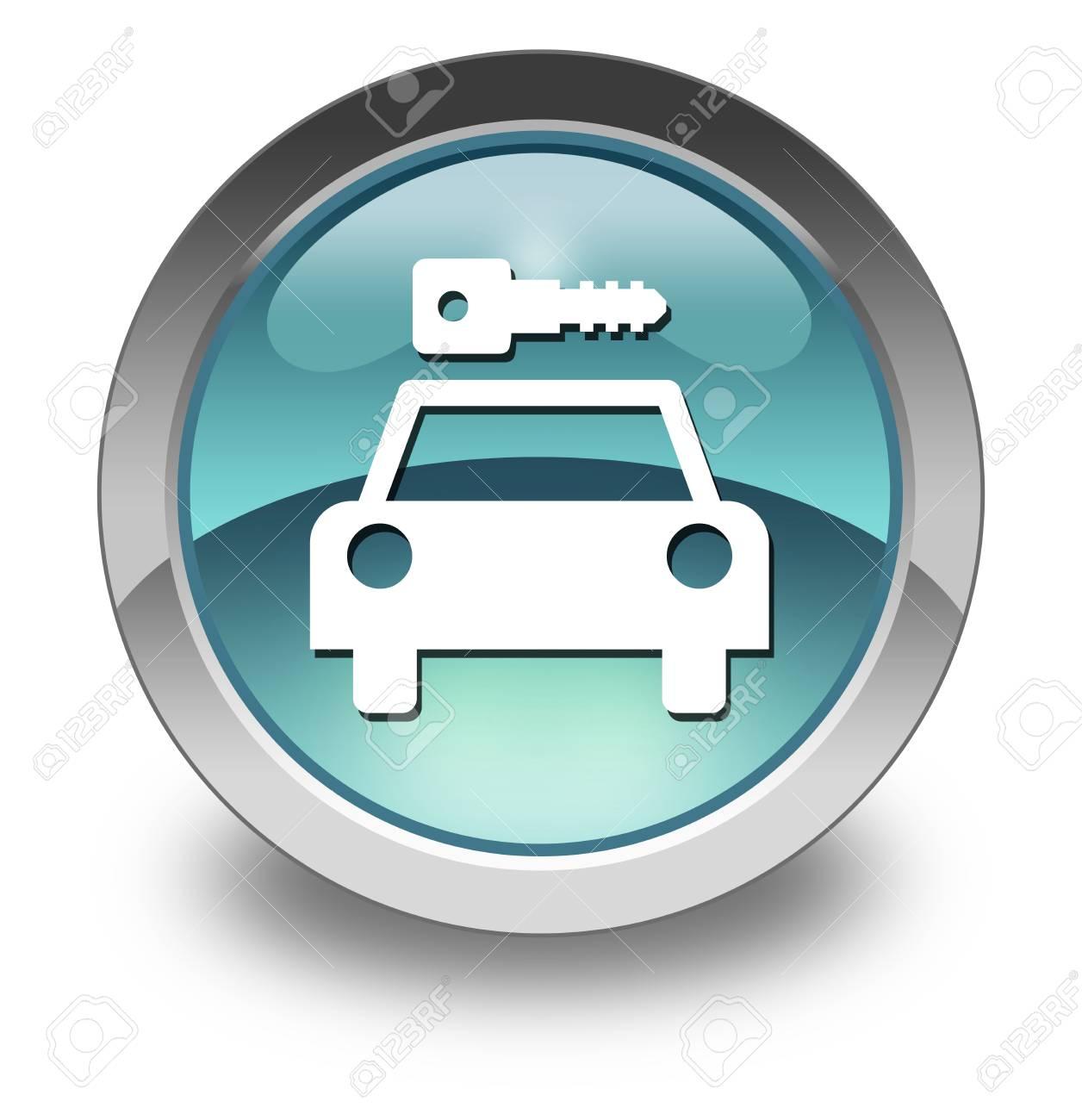 Icon, Button, Pictogram with Car Rental symbol Stock Photo - 27196415
