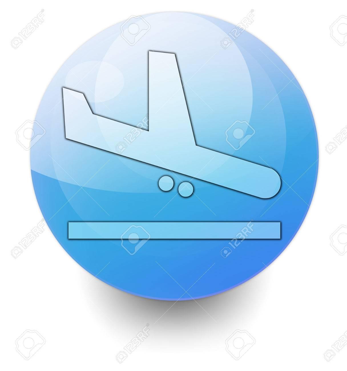 Icono, Botón, Pictograma Con El Símbolo De Llegadas Del Aeropuerto ...