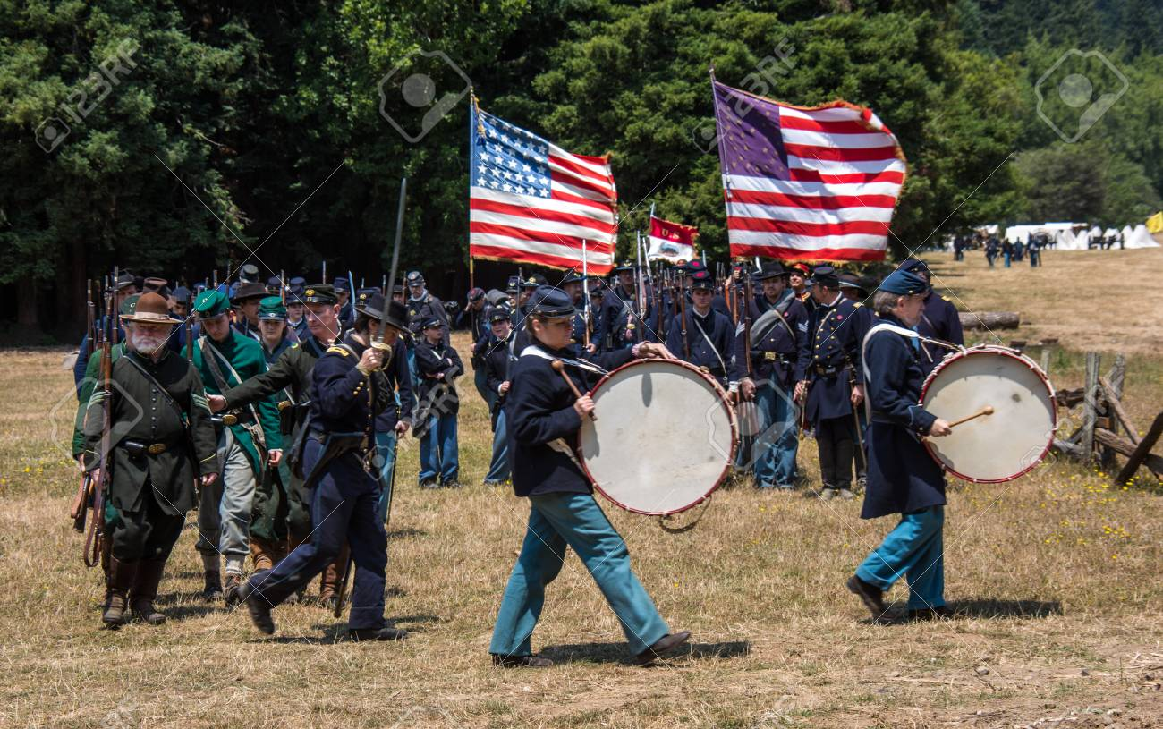 Duncan Mills, Calif / July 14, 2012: Men march in Union Army