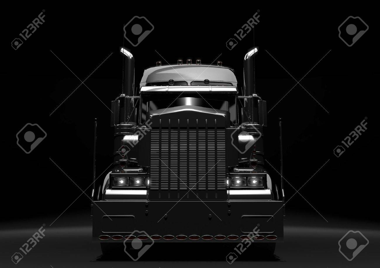 Front view of a long black diesel truck in a dark background Stock Photo - 10596110