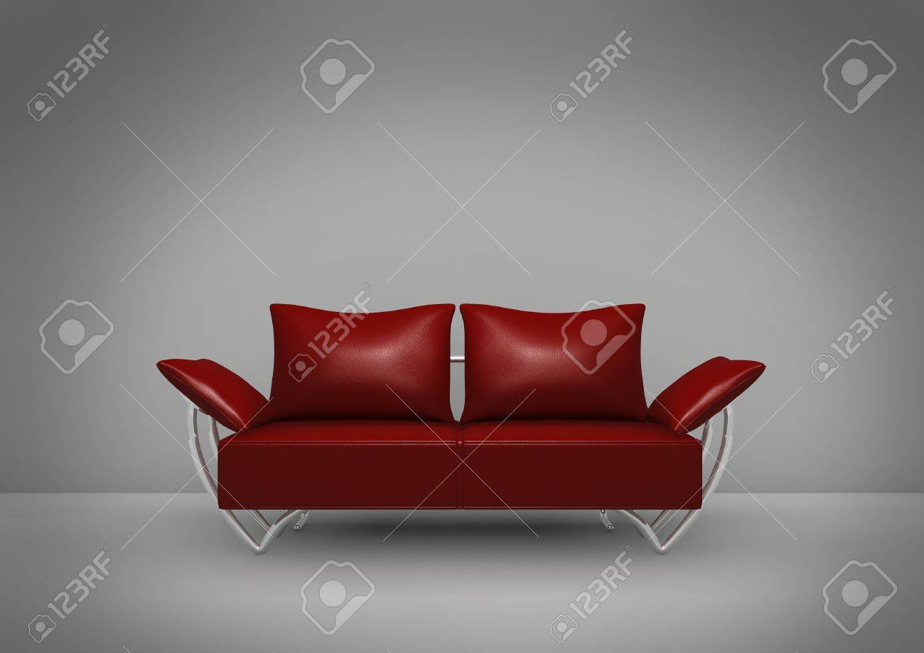 Isolated dark red sofa on dark background with spotlight focus