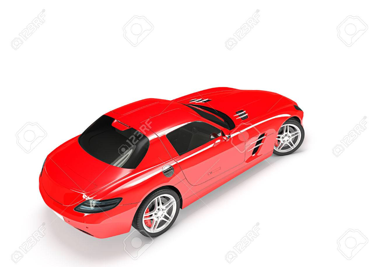 Back Top View Of Sport Car In A White Background Stock Photo   50996740