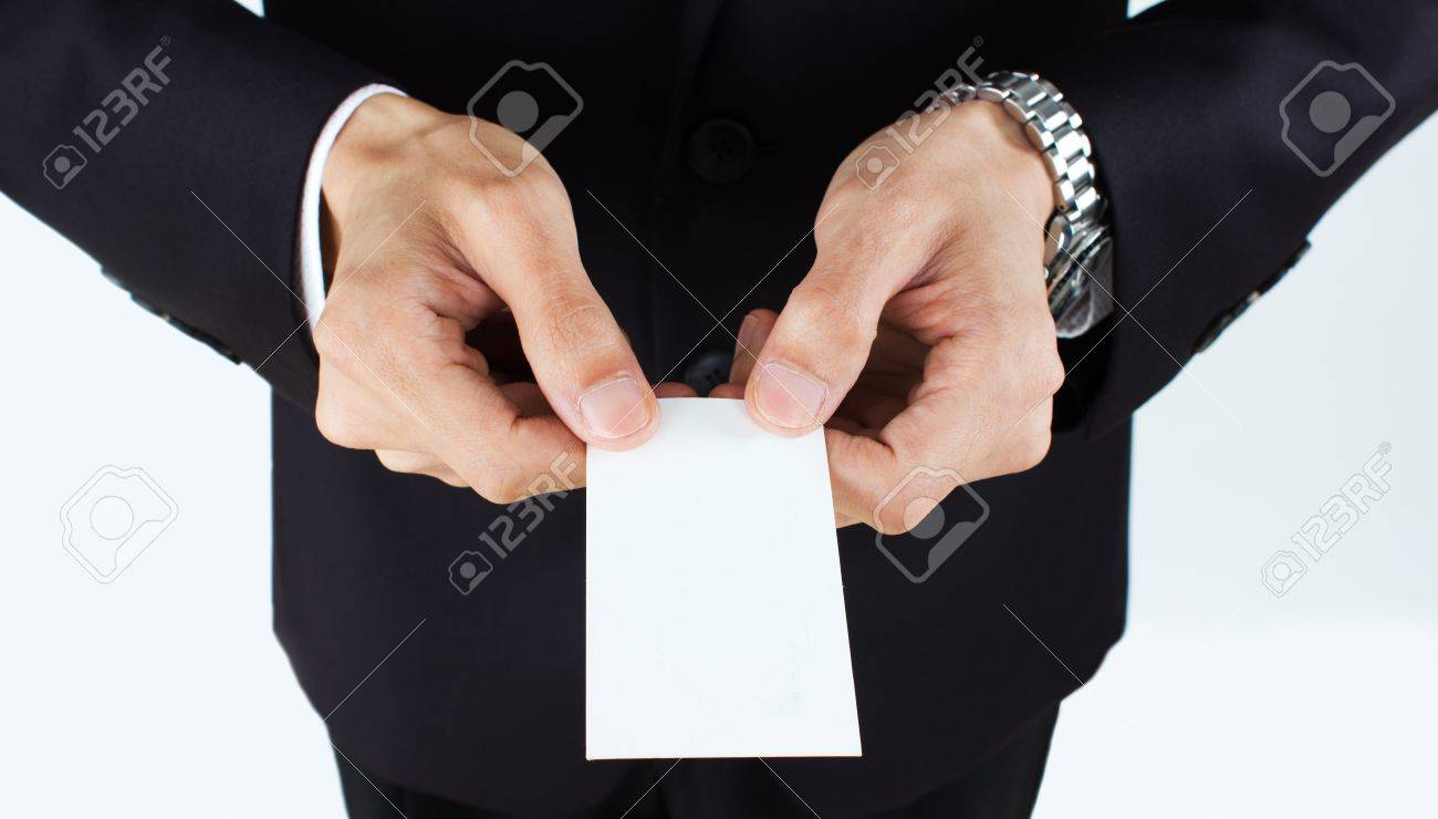 business man holding blank business card - 15513567