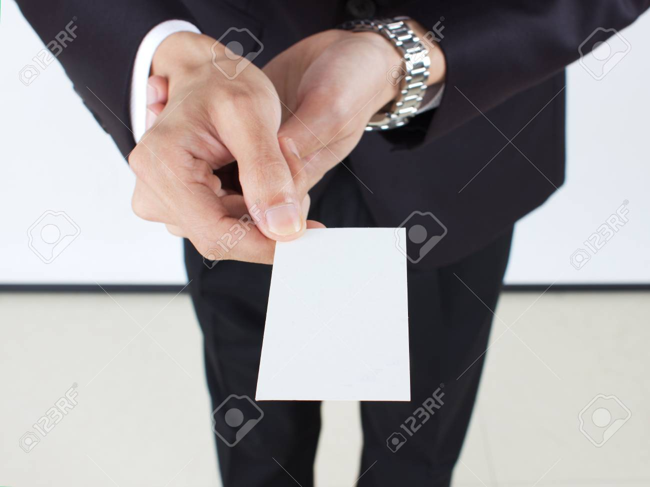 business man holding blank business card - 15513568
