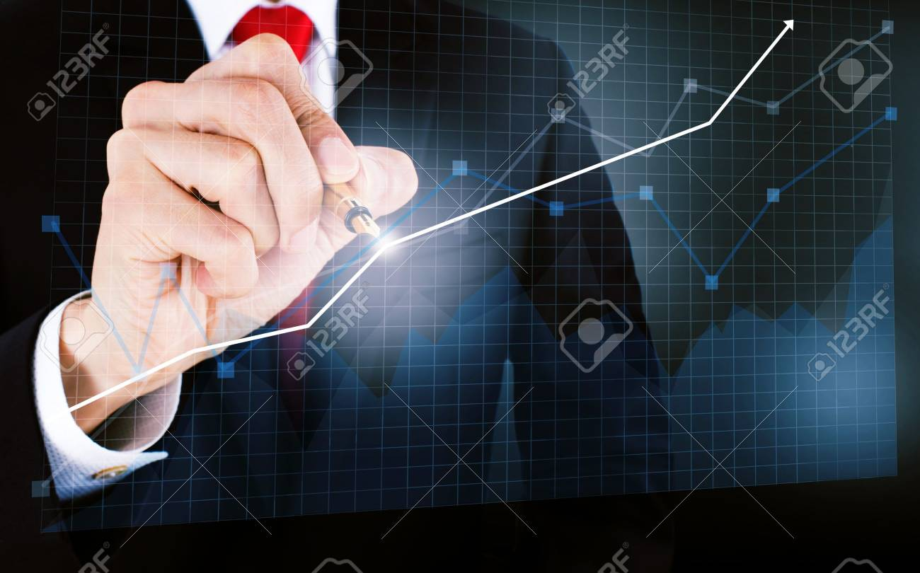 businessmen draw a graph - 16268600