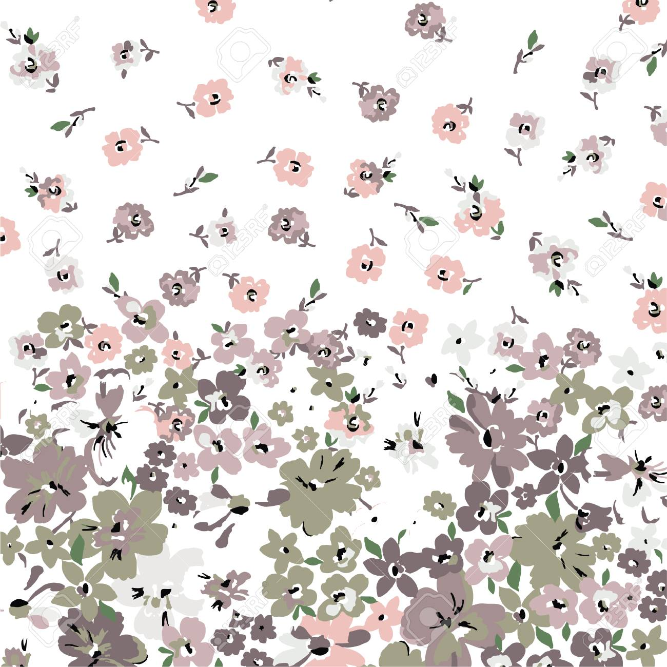 Classic Wallpaper Seamless Vintage Flower Pattern On White