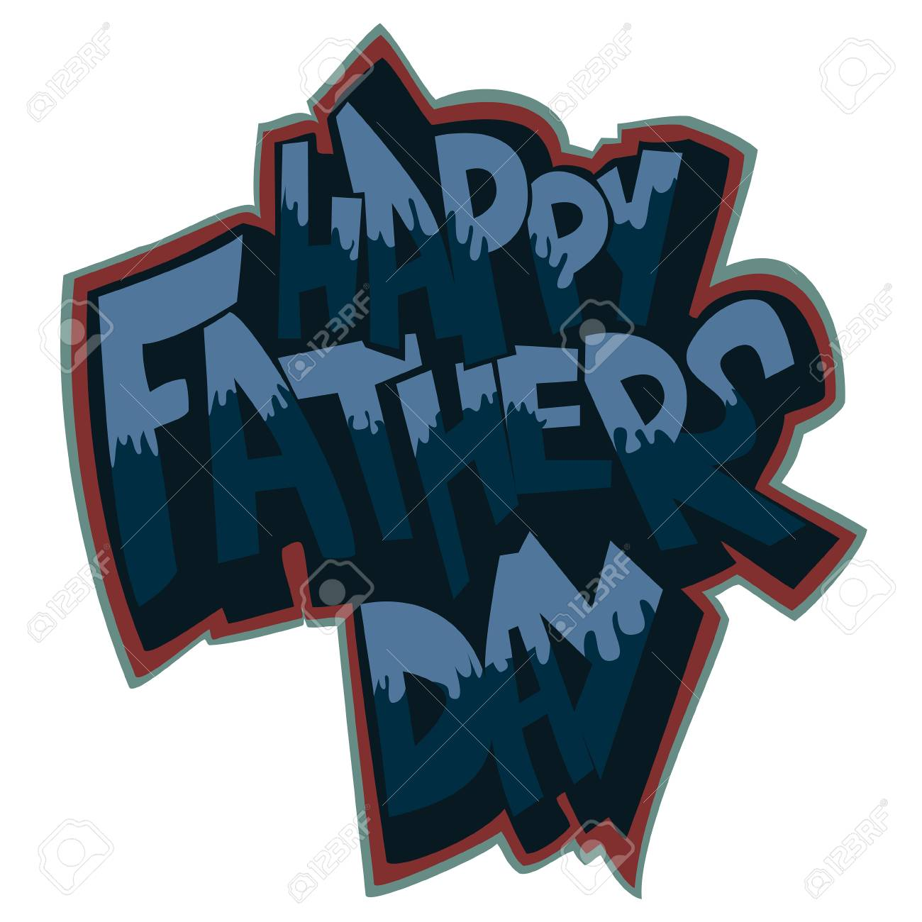Happy Fathers Day Vector Decorative Text Drawing In Graffiti Style