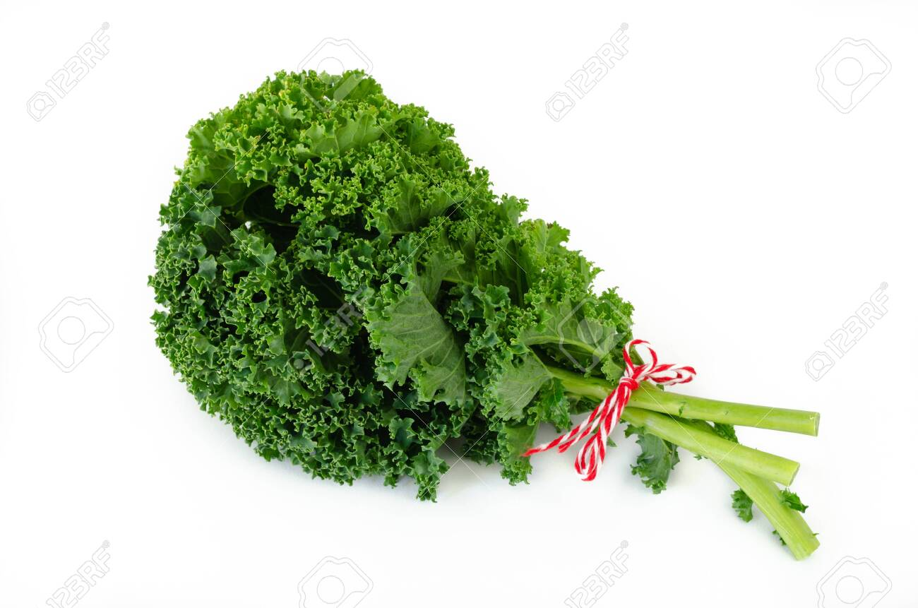 Bunch of american kale on white background. Top view. - 121368568