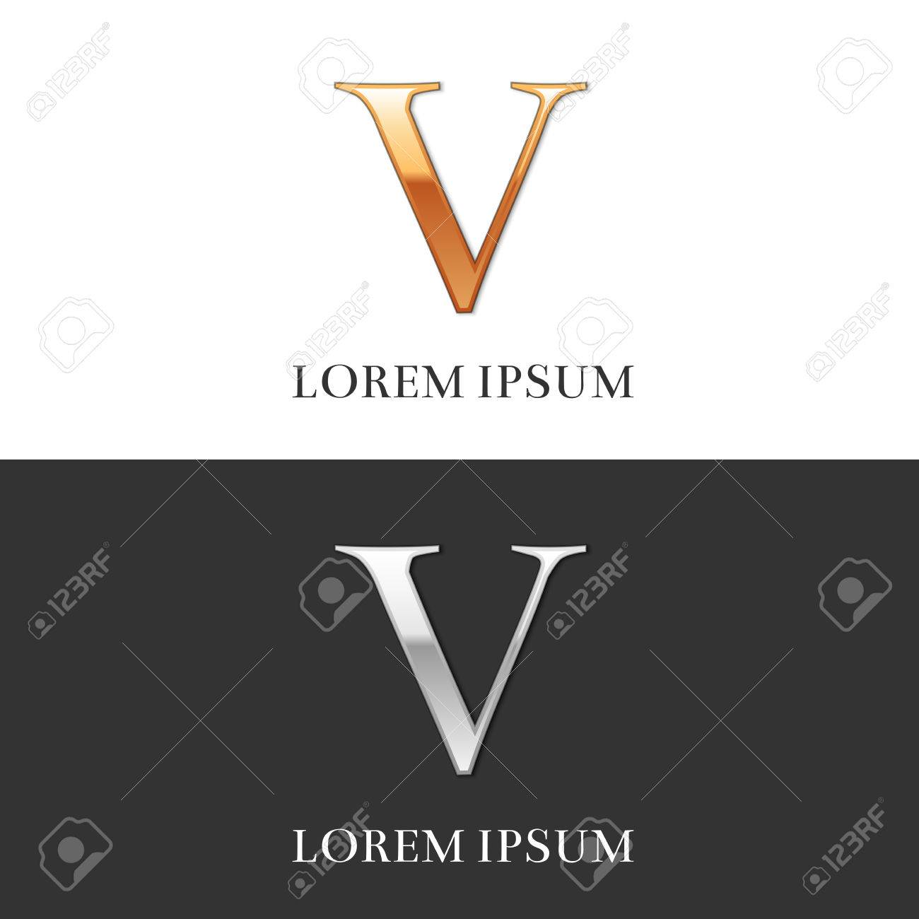 5 V Luxury Gold And Silver Roman Numerals Sign Symbol Icon