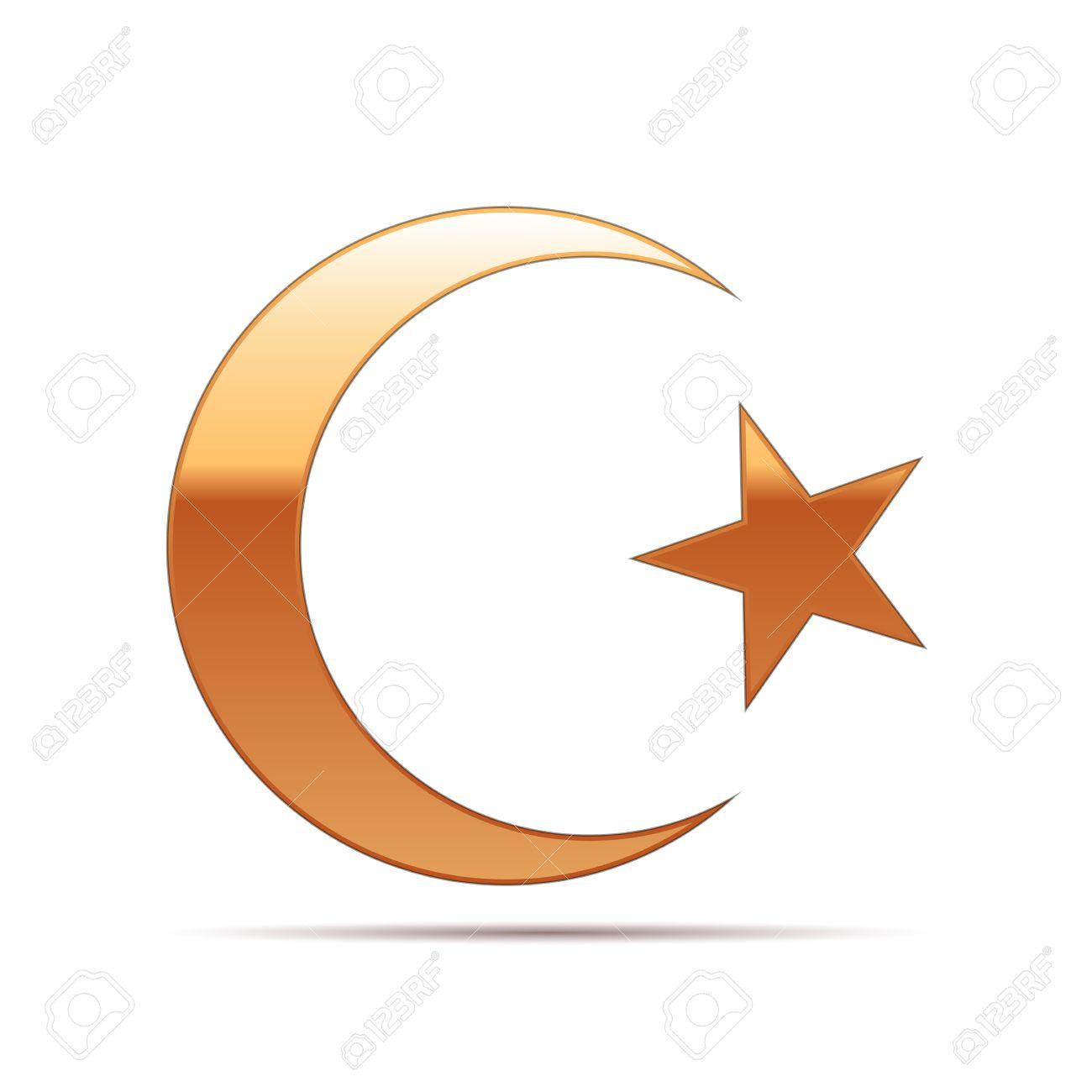 Gold Islam Symbol Icon On White Background Vector Illustration