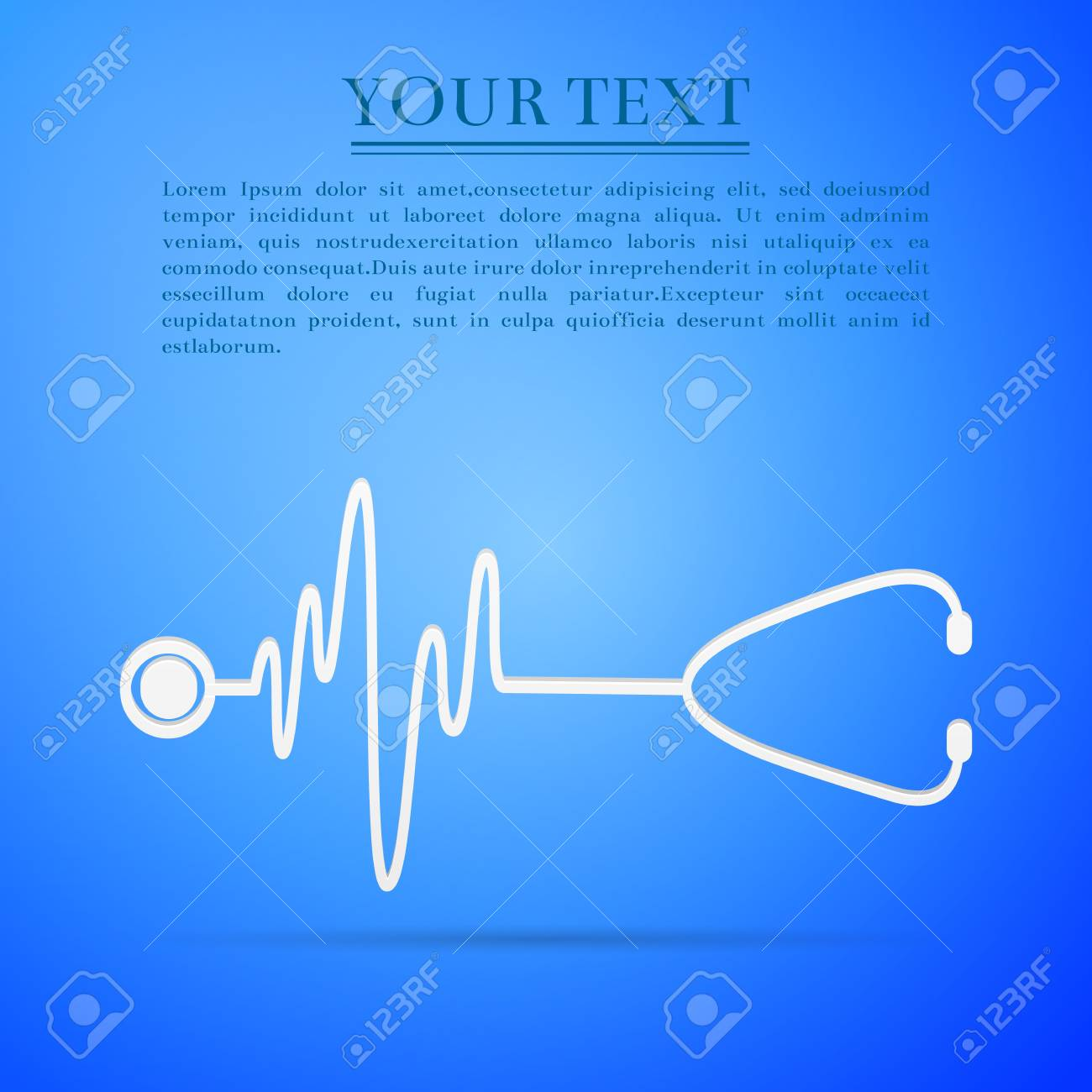 Stethoscope with a heart beat flat icon on blue background. - 68091675