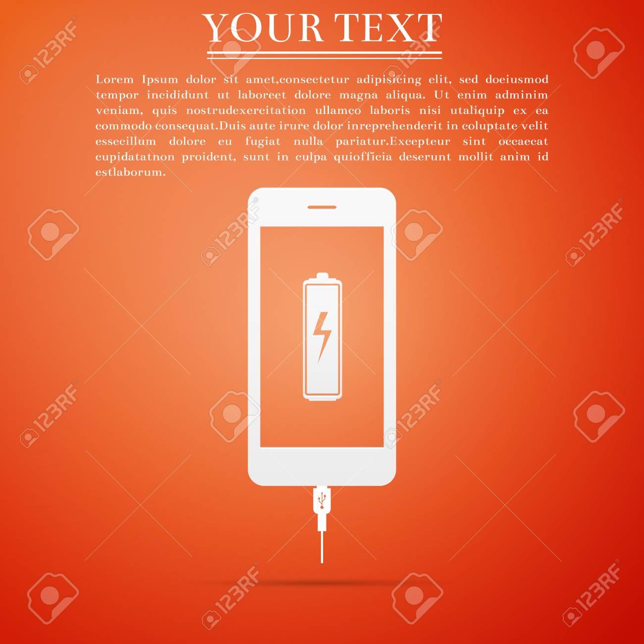 Smartphone Battery Charge Icon Isolated On Orange Background