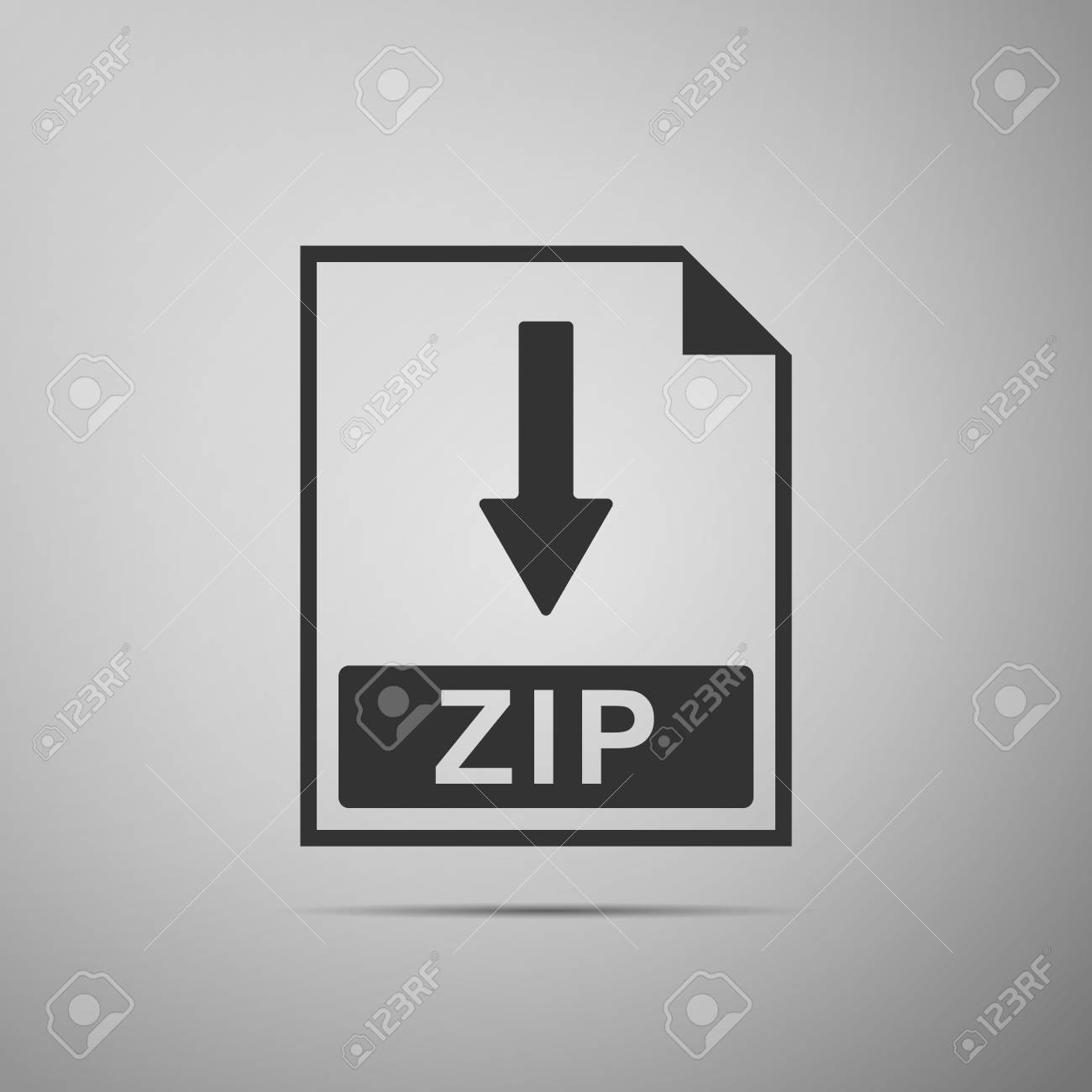 ZIP file document icon  Download ZIP button icon isolated on