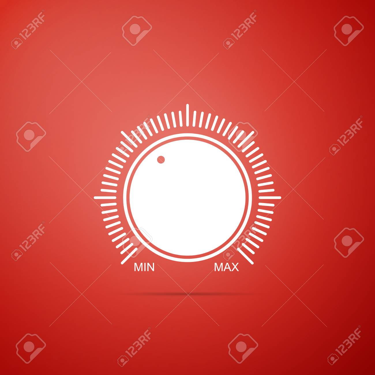 Dial knob level technology settings icon isolated on red background. Volume button, sound control, music knob with number scale, analog regulator. Flat design. Vector Illustration - 110528496