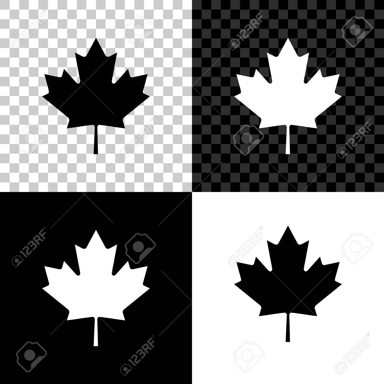 Canadian Maple Leaf Icon Isolated On Black White And Transparent