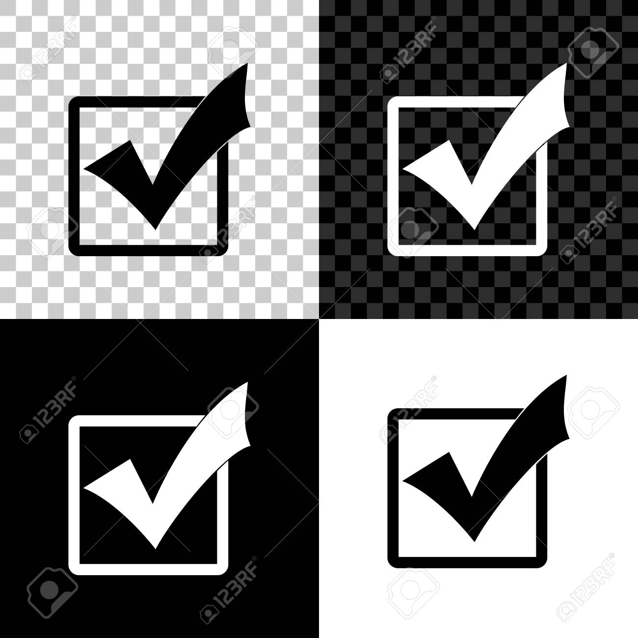 Check mark in a box icon isolated on black, white and transparent