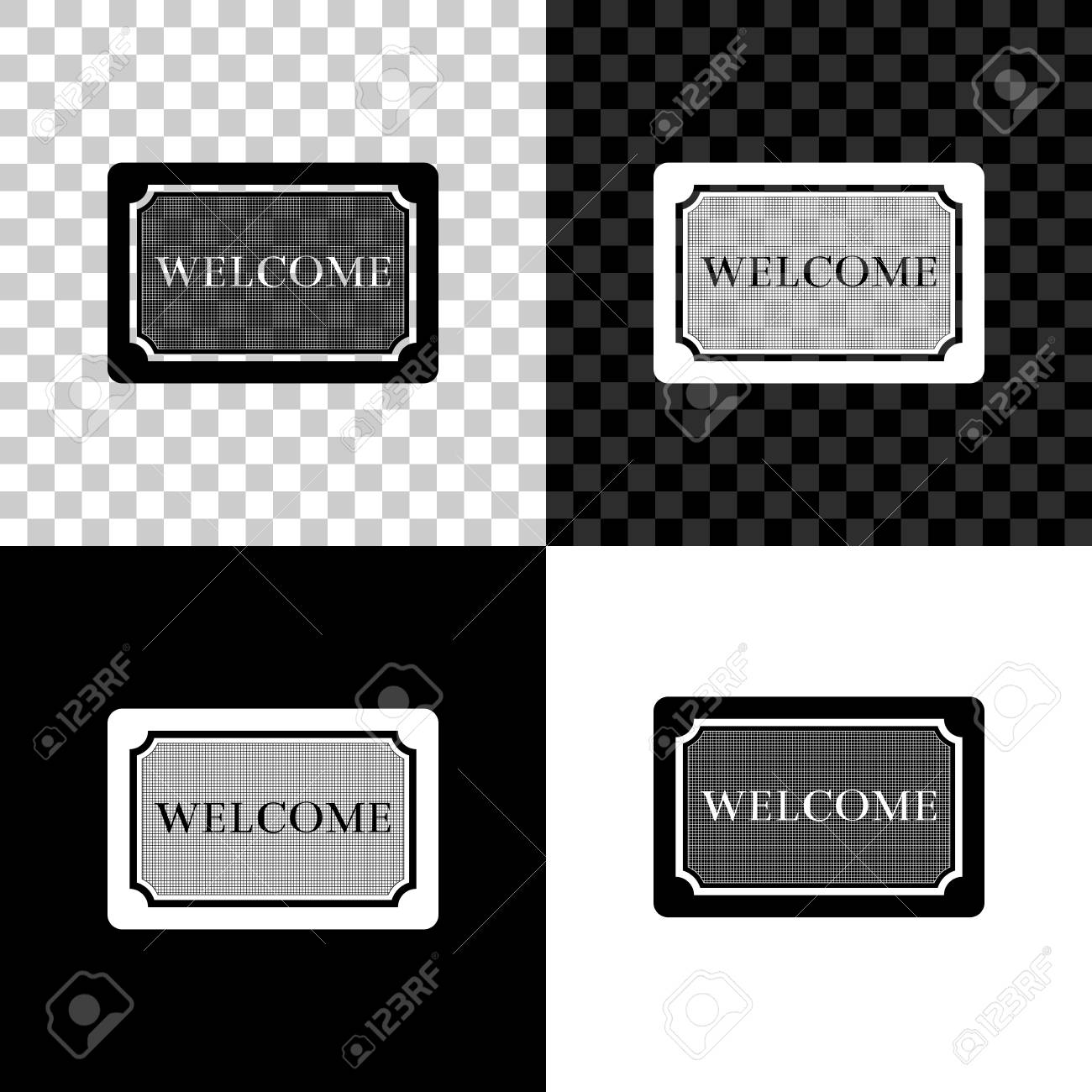Doormat with the text Welcome icon isolated on black, white and