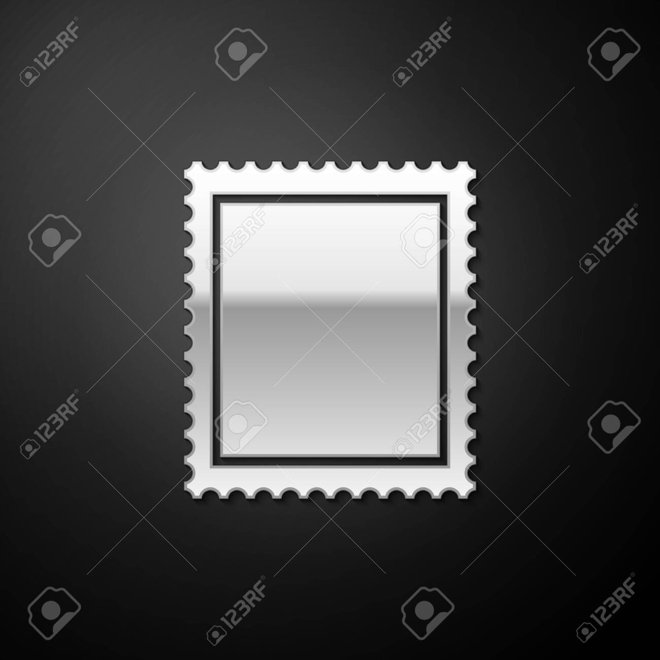 Silver Postal stamp icon isolated on black background. Long shadow style. Vector - 151742963