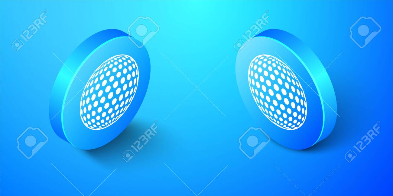 Isometric Golf icon isolated on blue background. Blue circle button. Vector - 156914659