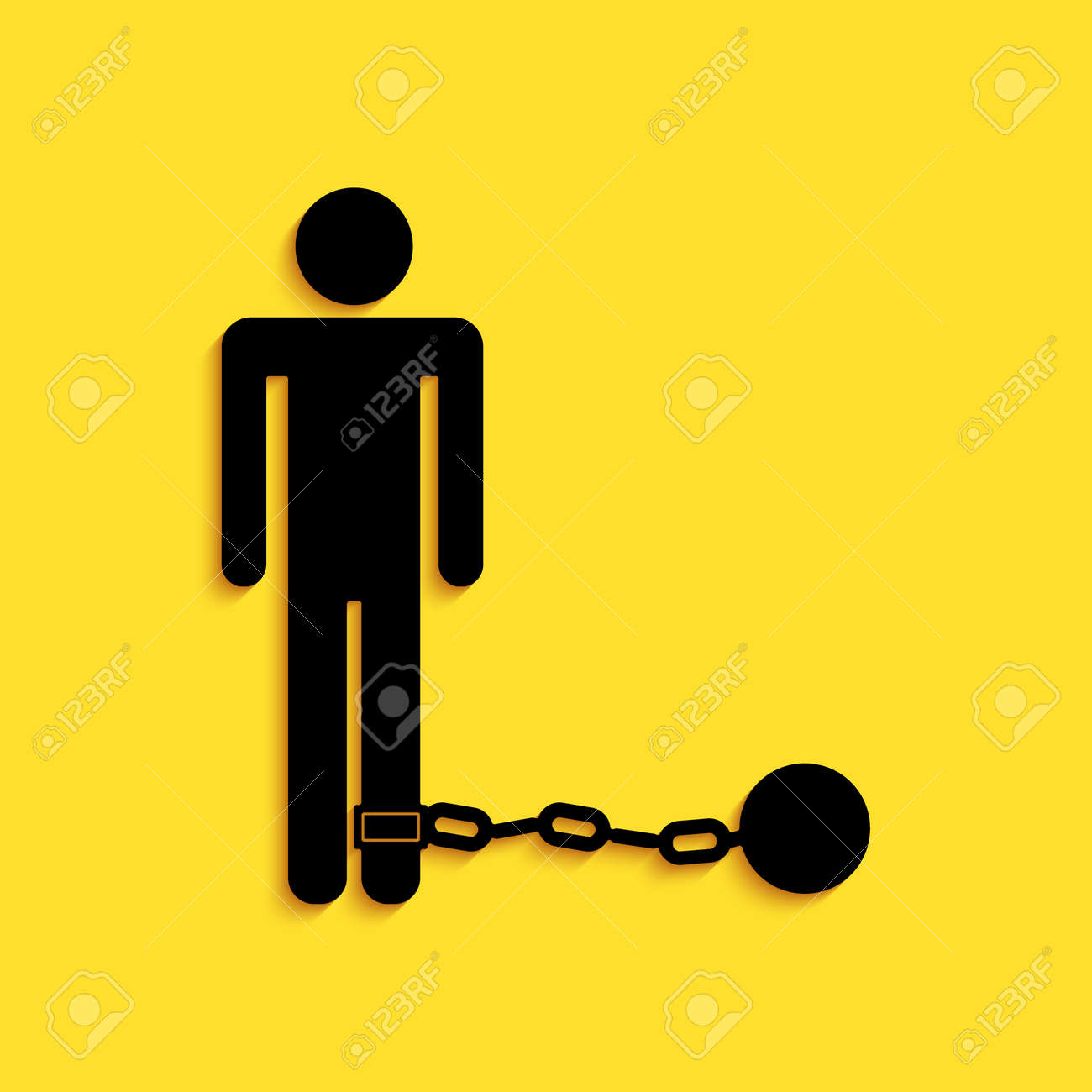 Black Prisoner with ball on chain icon isolated on yellow background. Long shadow style. Vector - 159469597