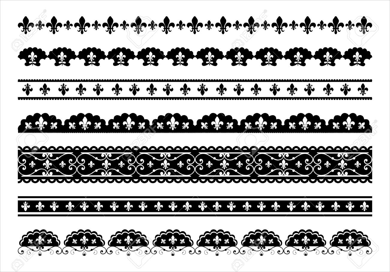Set of  Fleur de lis scalloped borders Stock Vector - 11464644