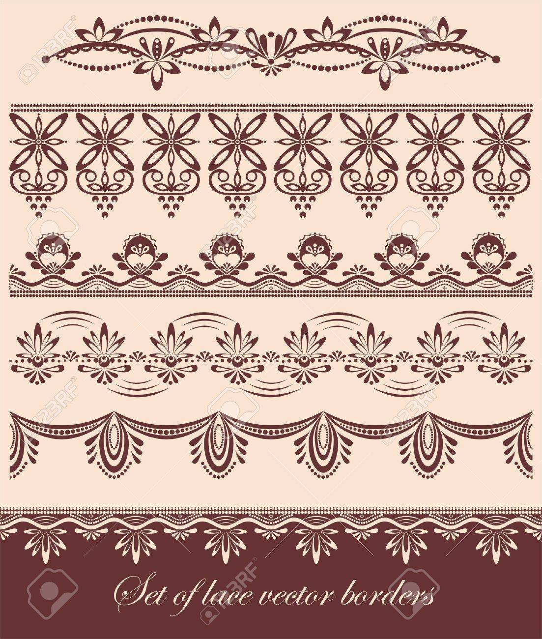 Set of vintage scalloped vector lace borders Stock Vector - 12819661