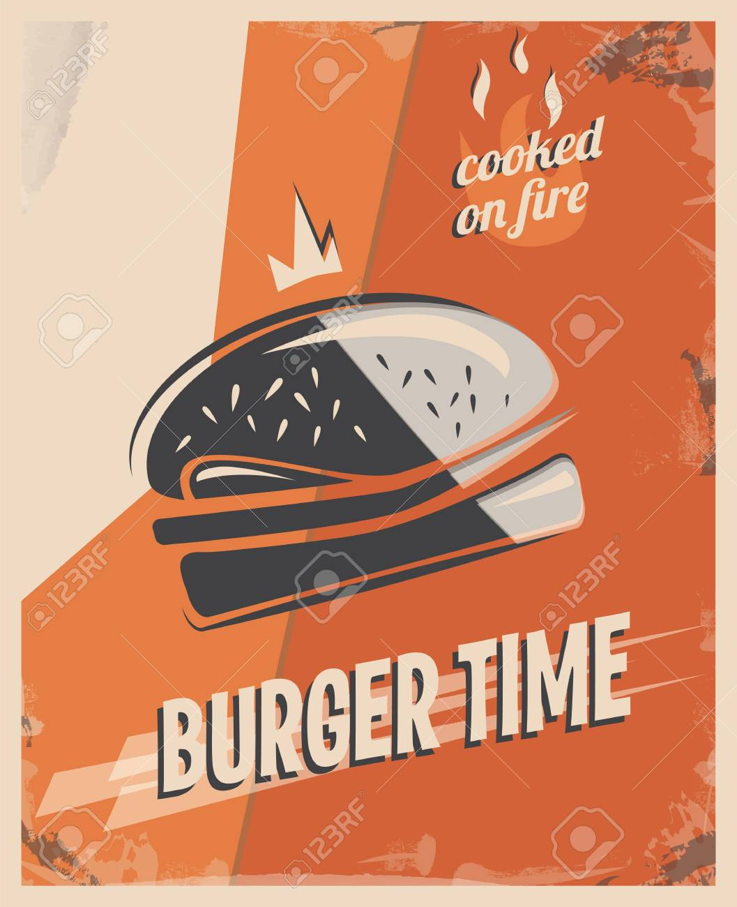 Retro Poster With Burger With Beef Meat Restaurant Concept And Royalty Free Cliparts Vectors And Stock Illustration Image 84275503