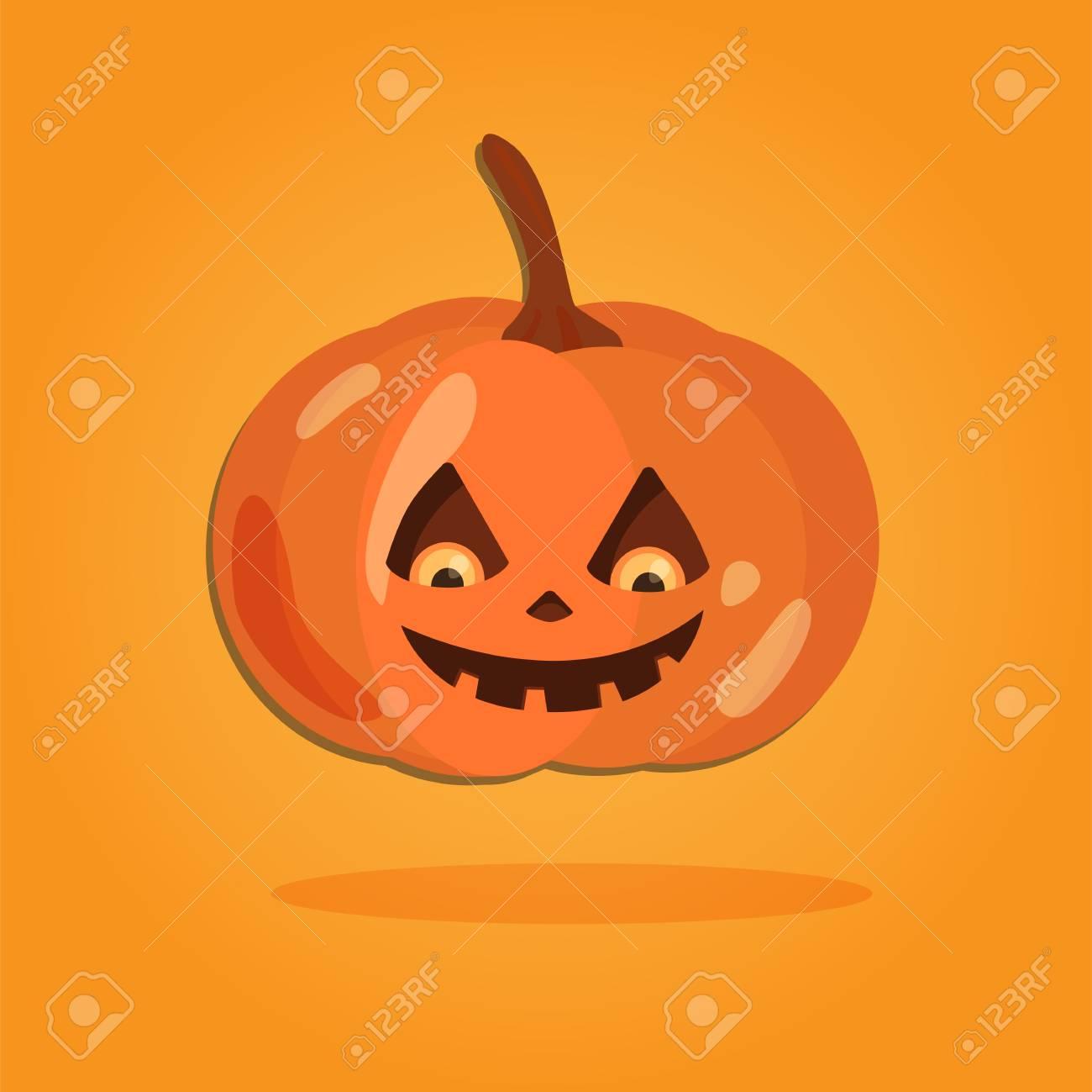 ハロウィーン漫画アート フラット スタイルでいますオレンジ色の背景かわいいデザインのカボチャ イラスト