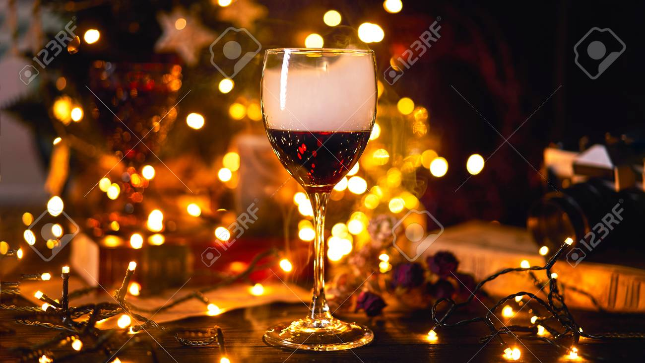 Banner Size 16 In 9 Festive Atmosphere With A Glass Of Red Wine Stock Photo Picture And Royalty Free Image Image 115011108