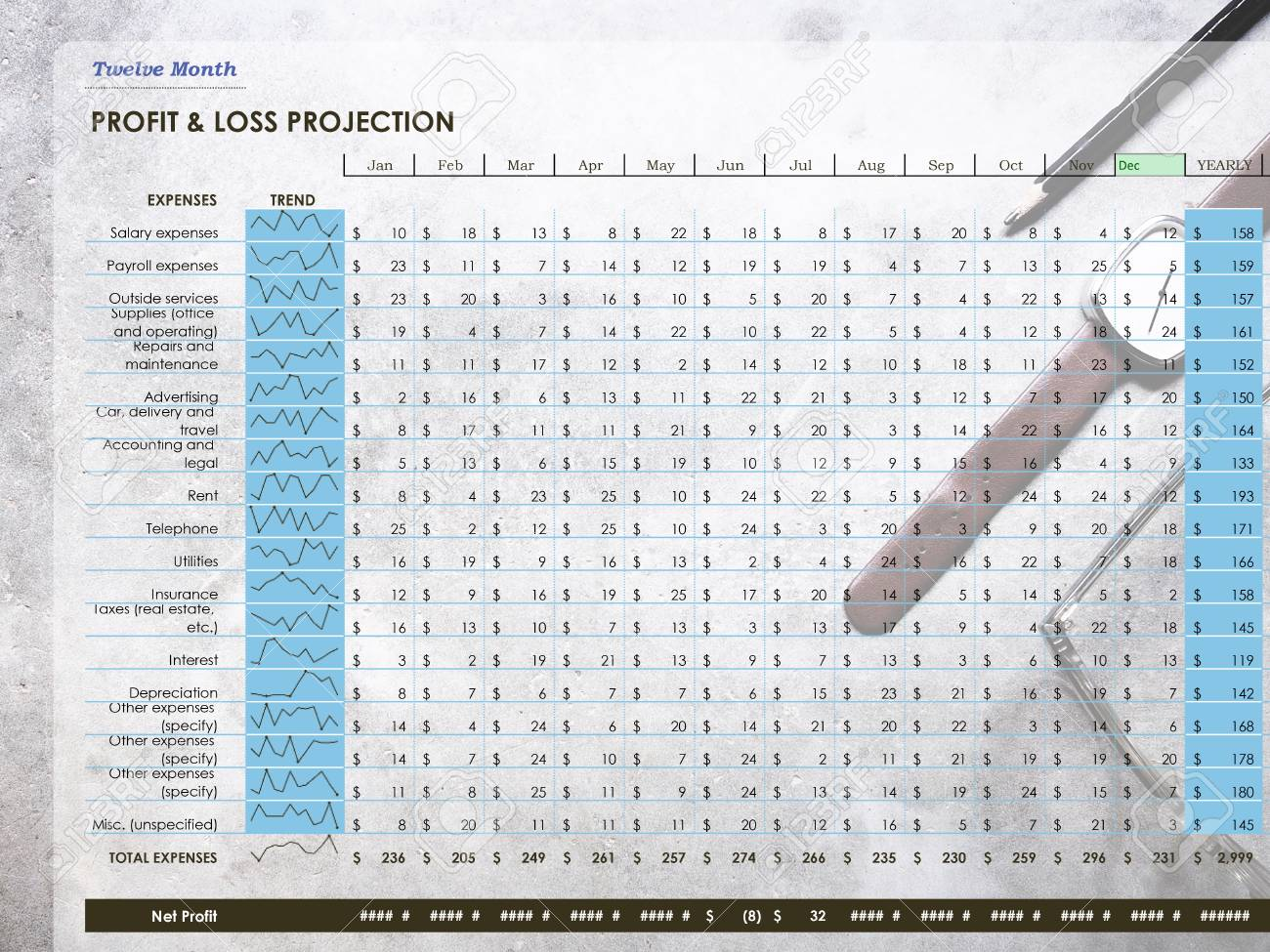 twelve month profit loss projection on workplace background
