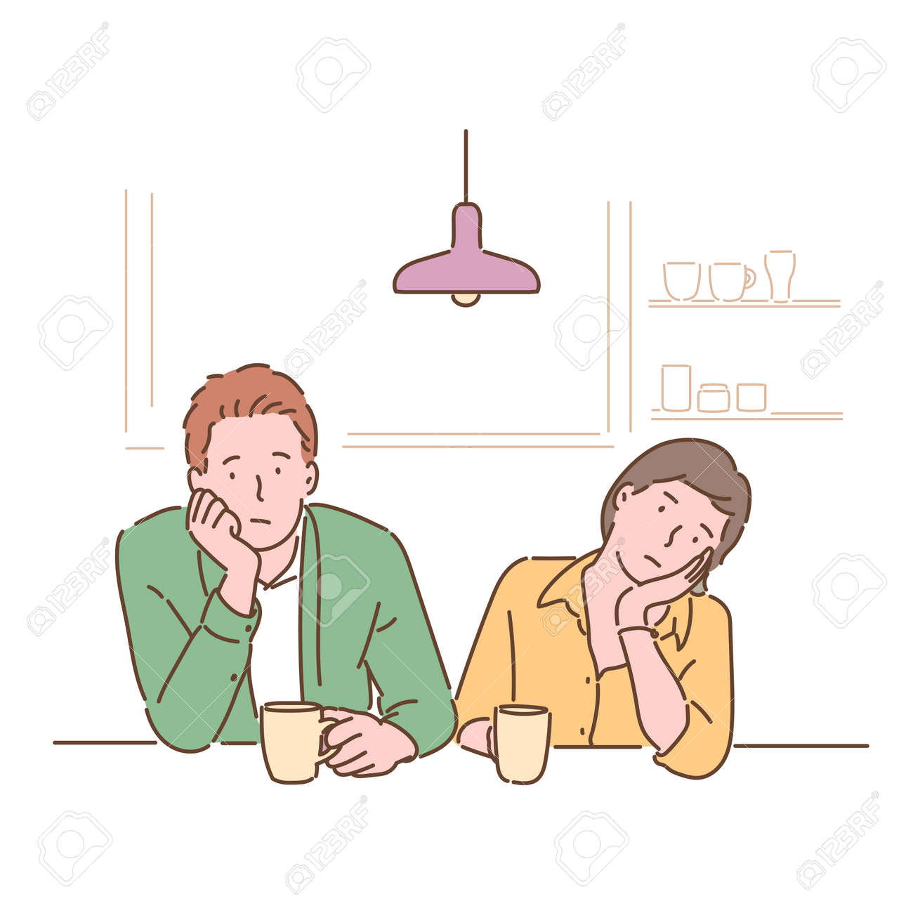 A couple sits at the table and shrugs their chins with a bored expression. hand drawn style vector design illustrations. - 172368715