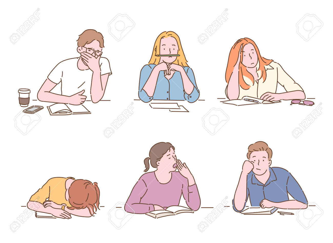 Students look bored while studying. hand drawn style vector design illustrations. - 172368716