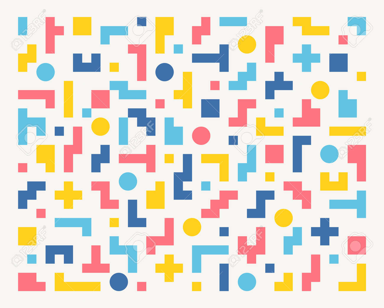 Tetris-shaped figures are combined to make a pattern. Simple pattern design template. - 172360963