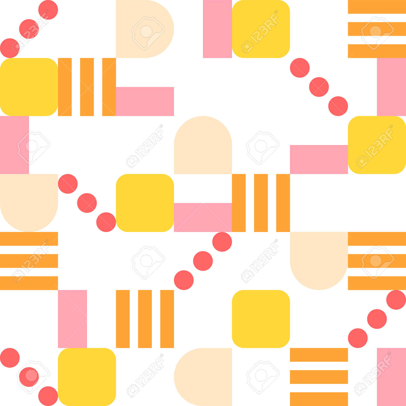 Orange-tone lines, dots, and square pieces of figure form a pattern. Simple pattern design template. - 172276096
