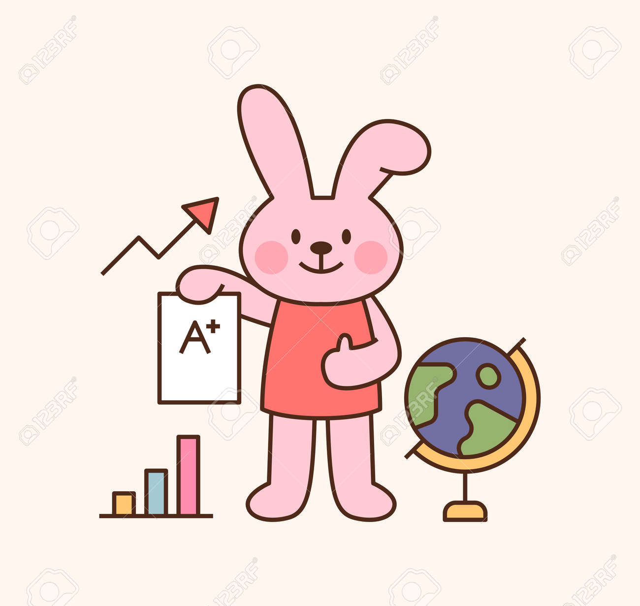 Cute rabbit student character. A rabbit is standing holding a test paper. outline simple vector illustration. - 172197485