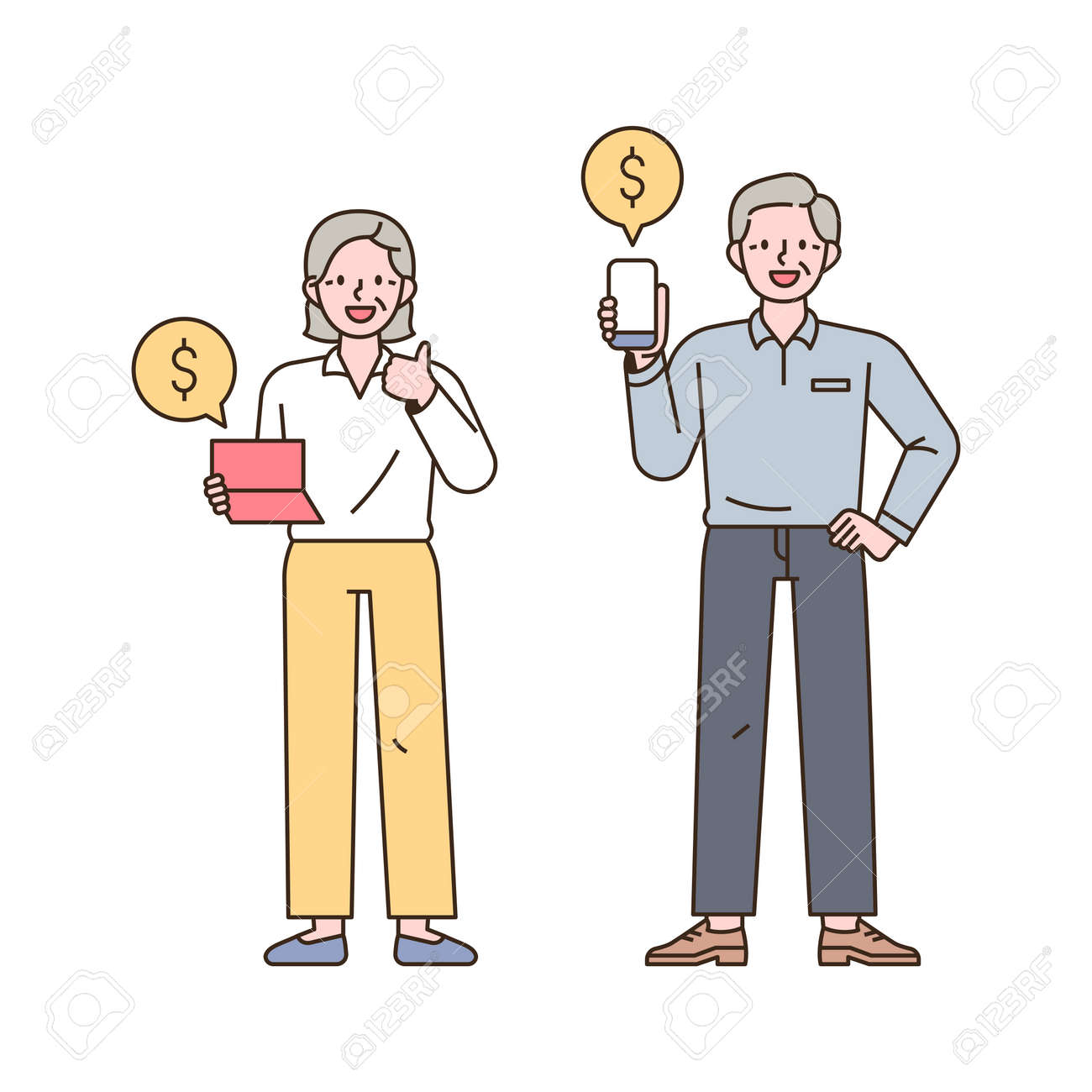 Two old men are looking at the accumulation of assets through bankbooks and mobile banking. outline simple vector illustration. - 172301914