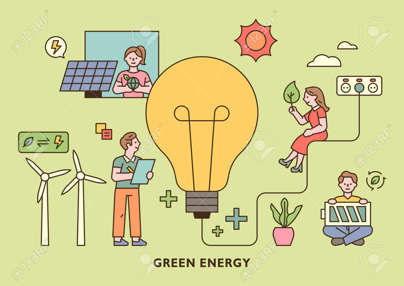People holding green energy icons around a large light bulb. outline simple vector illustration. - 172382670