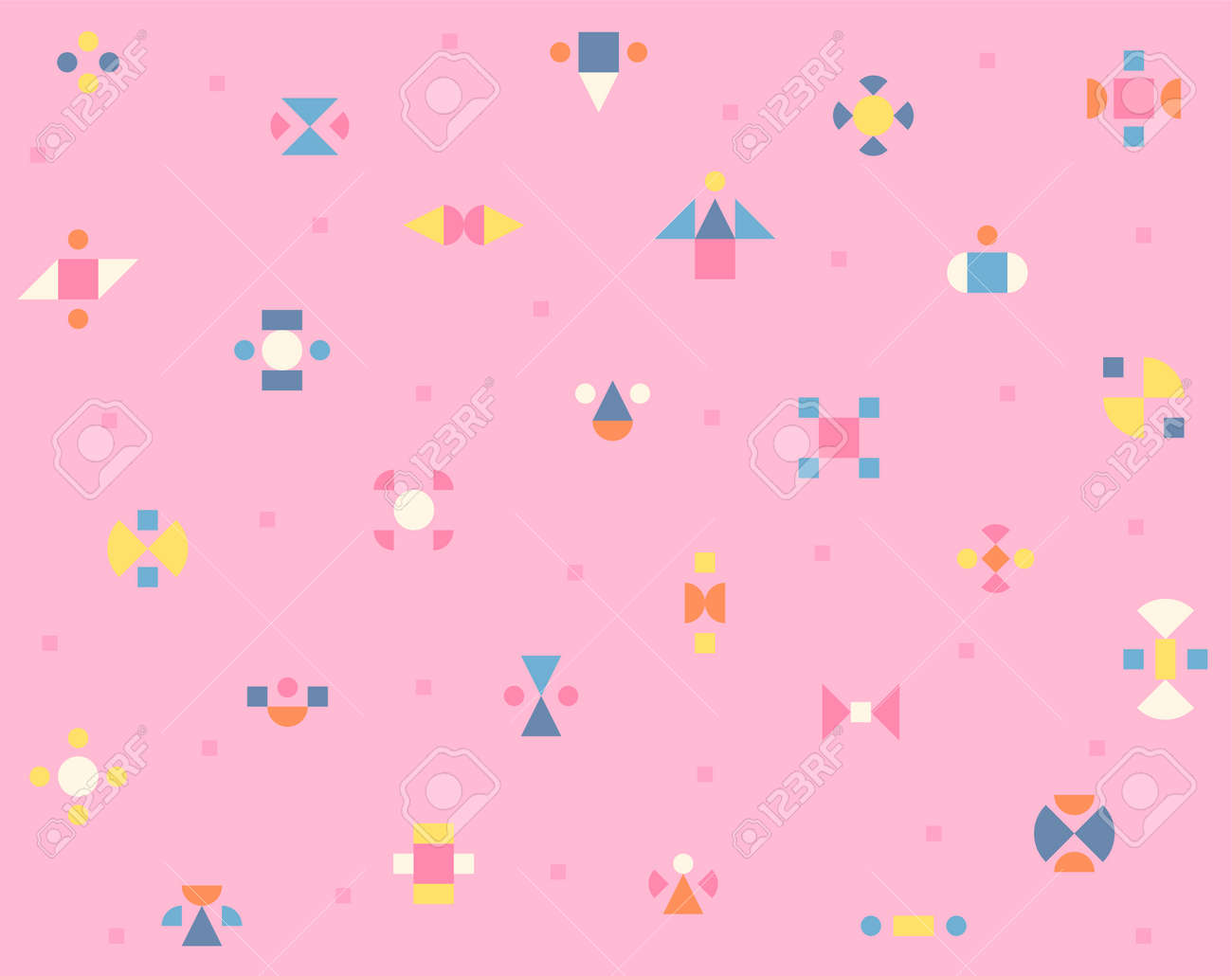 On a pink background, small pieces of shapes are making a kaleidoscope-like pattern. Simple pattern design template. - 172584612